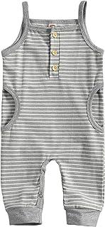 الوليد الطفل شريط الطباعة بذلة طفل رضيع فتاة س الرقبة بلا أكمام حبال وسراويل طويلة جيب رومبير (Color : Gray, Kid Size : 9M)