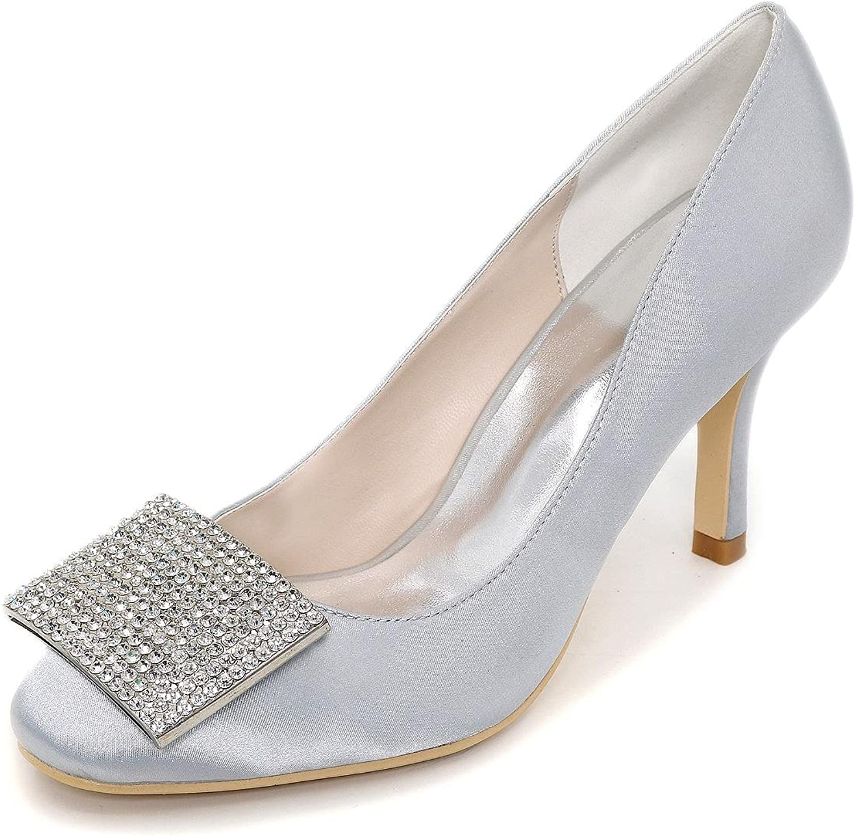 L@YC Women's High Heels Spring Summer Fall Winter Satin Wedding Party & Evening Flat Heel Rhinestone bluee Red Purple White Silver