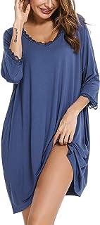 لباس نوم حريمي Aibrou ، ثوب نوم برقبة على شكل حرف V للنساء كبير الحجم ملابس نوم منزلي 3/4 كم قمصان نسائية