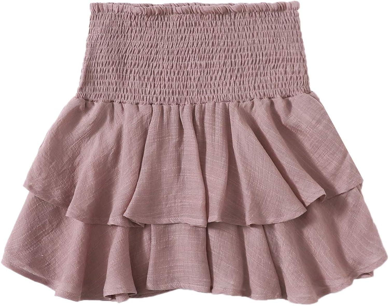 WDIRARA Women's Layered Ruffle Hem Smock High Waist Casual Mini Skirt