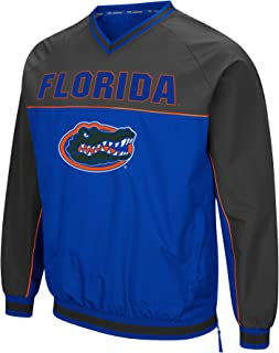 Men's NCAA Athletic V-Neck Windbreaker Pullover with Tackle Twill Embroidery
