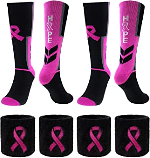 Breast Cancer Awareness Pink Ribbon Hope Socks & Wristbands Set - 2 Pairs Athletic Crew Socks + 4 Pcs Wrist Sweatbands