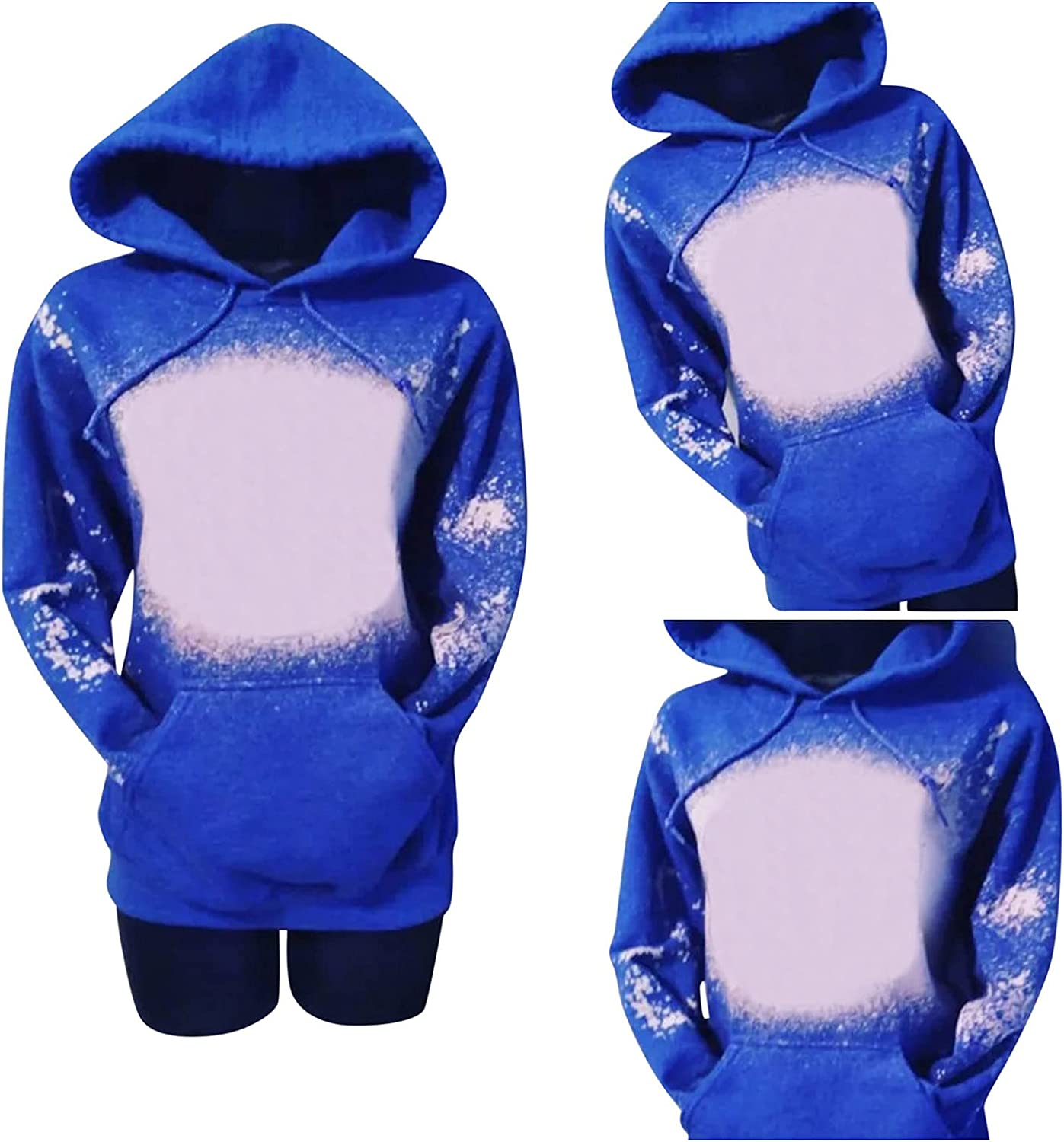 Bleached Hoodies for Women Pullover Casual Lightweight Distressed Hooded Sweatshirt Graphic Letter Print Long Sleeve Shirts
