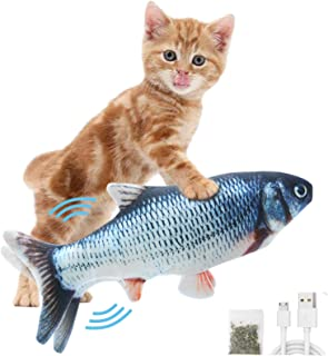 DAVOM Moving Fish Interactive Cat Toy, Electric Wiggle Fish Catnip Toys, Realistic Plush Flopping Fish, Funny Pets Chew Bi...