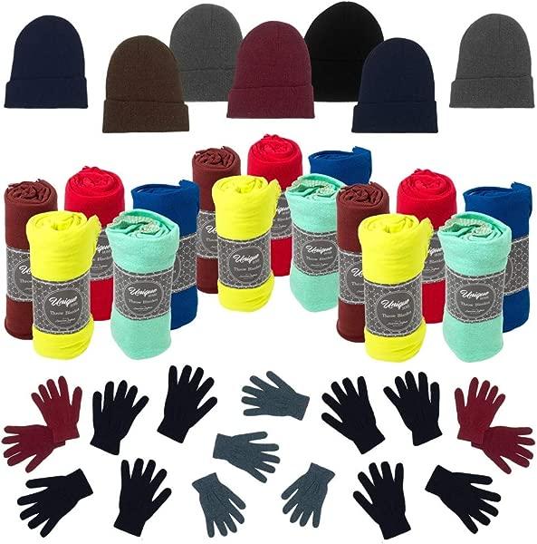 12 Winter Throw Bulk Blankets 12 Bulk Gloves 12 Wholesale Beanies Homeless Care Packages