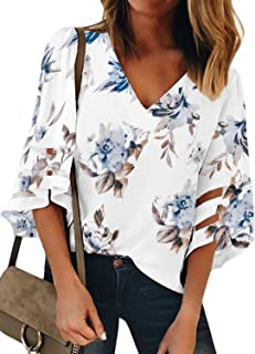 203876c9e6ce24 BLENCOT Womens 3/4 Bell Sleeve V Neck Lace Patchwork Blouse Casual Loose  Shirt Tops