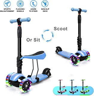 2 in 1 Kids Toddler Scooters for Kids with Removable Seat Scooter 3 Wheels Adjustable Height Kick Scooter Toddlers Girls Boys for Childdren 2 to 8 Year Old