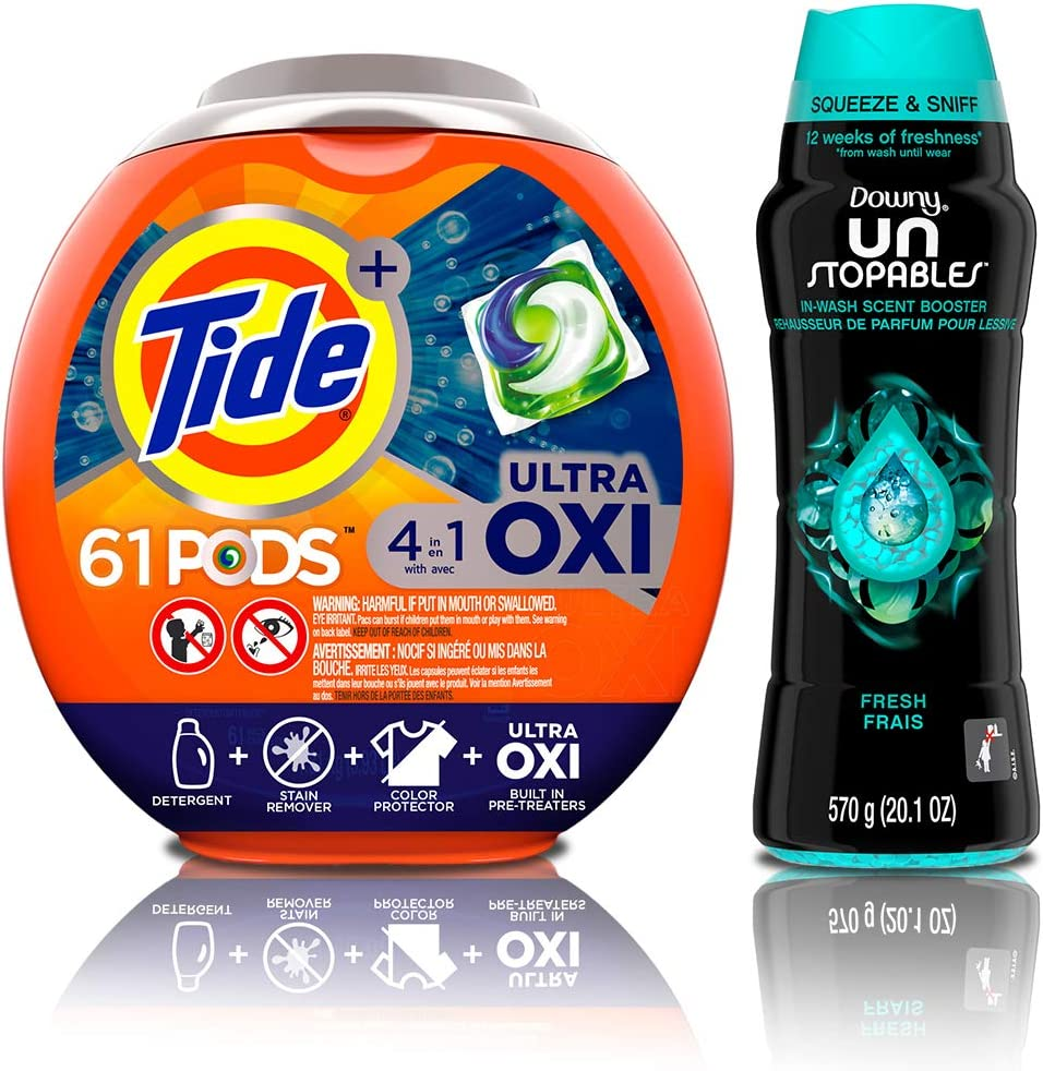 Tide PODS Ultra Oxi 4 in 1 HE Turbo Laundry Detergent Pacs, 61 Count Tub with In-Wash Scent Booster Beads, Fresh, 20.1 Ounce : Health & Household