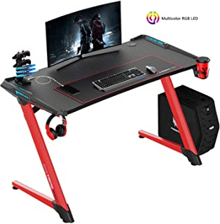VIT 47 Inch Ergonomic Gaming Desk with RGB LED Lights, Z-Shaped Office PC Computer Desk with Large Mouse Pad, Gamer Tables Pro with USB Gaming Handle Rack, Stand Cup Holder&Headphone Hook (47 in RED)