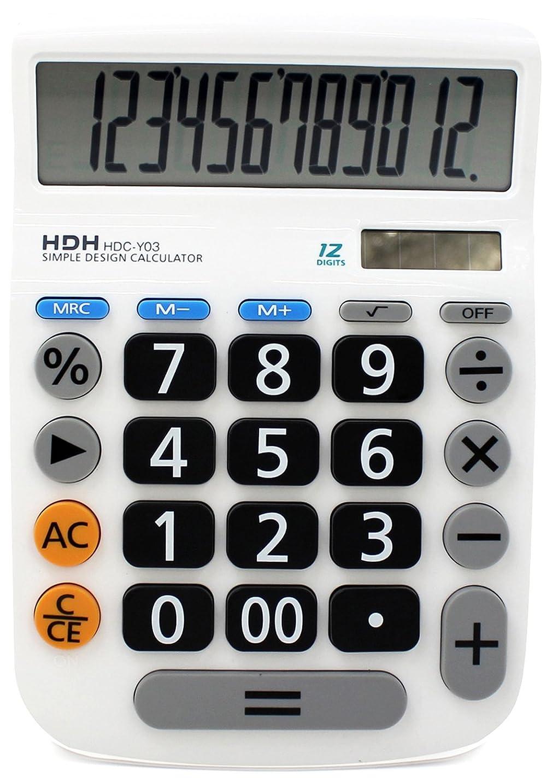 教授プラスチック恐れHDH 電卓 12桁 大型 くっきり見やすい数字 シンプル電卓 HDC-Y03 ホワイト