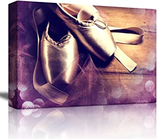 wall26 - Ballet Shoes on Wood with Purple Bokeh Around It - Canvas Art Home Decor - 16x24 inches