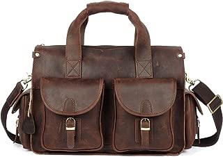 SGJFZD Men's Messenger Bag Top Layer Leather Handbag Shoulder Bag Retro Crazy Horseskin Leather Laptop Bag (Color : Brass, Size : M)