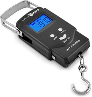 South Bend Digital Hanging Fishing Scale and Tape Measure with Backlit LCD Display,..