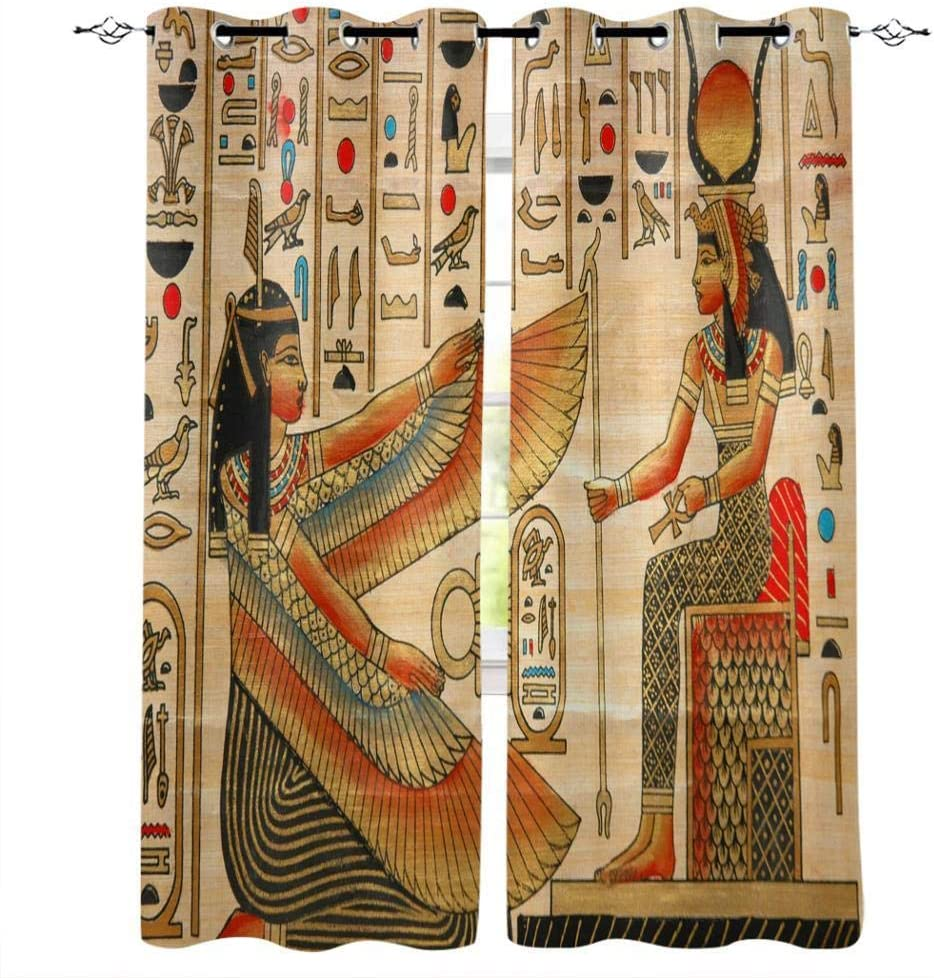 Bedroom Don't miss the campaign Curtains Vintage Max 64% OFF Egyptian Perforated Pattern Characters