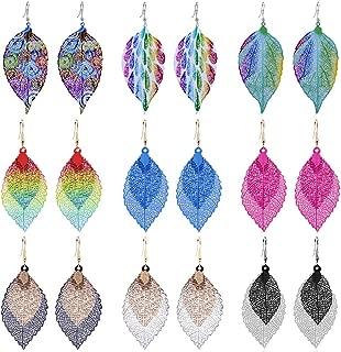 Double Hollow Leaf Earrings,Bohemian Earrings Set Metal Leaves Drop Dangle Vintage Hook Earrings for Women Girls