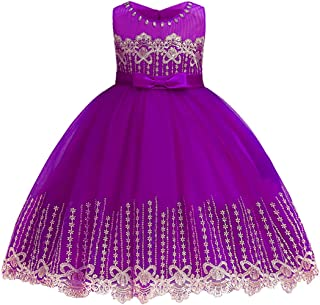 YaYa Bay Girls Sleeveless Wedding Party 3D Embroidered Flower Pageant Dresses