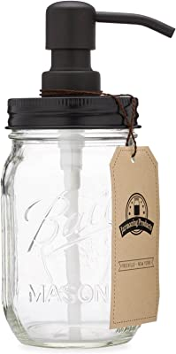 Jarmazing Products Mason Jar Soap Dispenser - Black - With 470ml Ball Mason Jar - Made from Rust Proof Stainless Steel