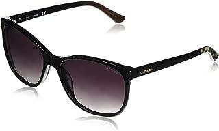 GUESS Women's Acetate Soft Cat-Eye Square Sunglasses, 01B, 58 mm