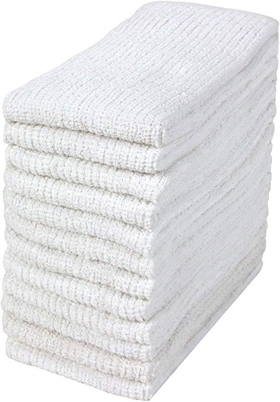 Bumble 12 Pack Antimicrobial Barmop Kitchen Towels 16 X 19 Premium Kitchen Towels Super Absorbent Heavy Weight Cotton Ribbed Weave White