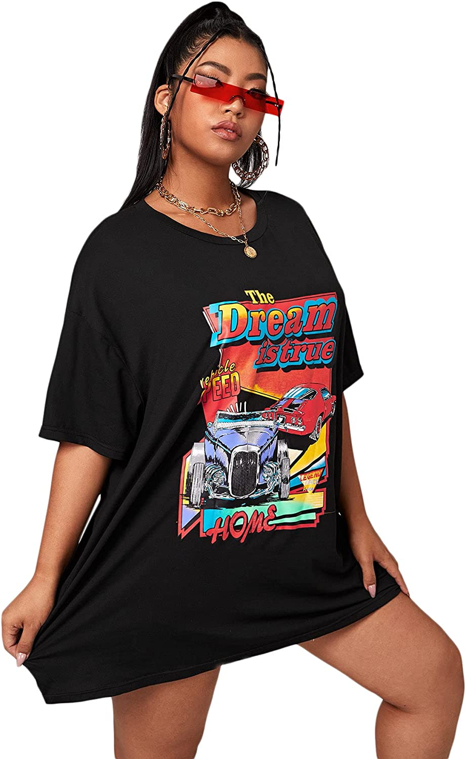 SOLY HUX Women's Car & Letter Graphic Print T-Shirt Casual Summer Short Sleeve Top