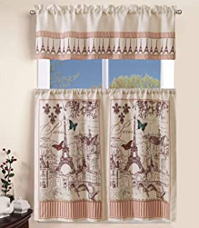 """Sapphire Home 3 Piece Kitchen Curtain Linen Set with 2 Tiers 27"""" W (Total Width 54"""") x 36"""" L and 1 Tailored Valance 54"""" W ..."""