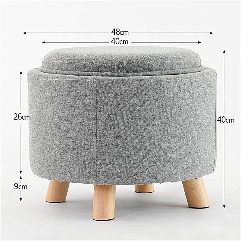 Carl Artbay Wooden Footstool Gray Multifunction Solid Wood Tea Table Stool Make Up Stool Dressing Stool Storage Stool Round Stool Creative For Shoe Stool Home Color Wood Color Wooden Feet