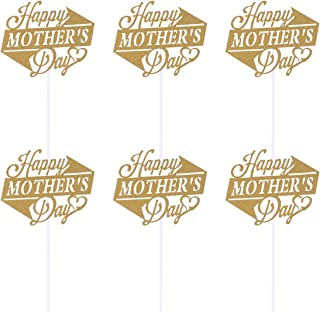 Amosfun 10pcs Happy Mother's Day Cake Toppers Golden Glitter Cupcake Picks Cake Decoration Party Supplies