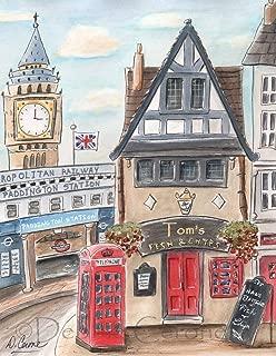 Travel Themed Boy's Wall Art, London Nursery Personalized Art Print - Fish & Chips Shop - Big Ben, Paddington Bear Theme