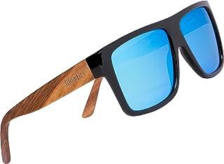 Zebra Wood Aviator Wrap Sunglasses with Polarized Lenses