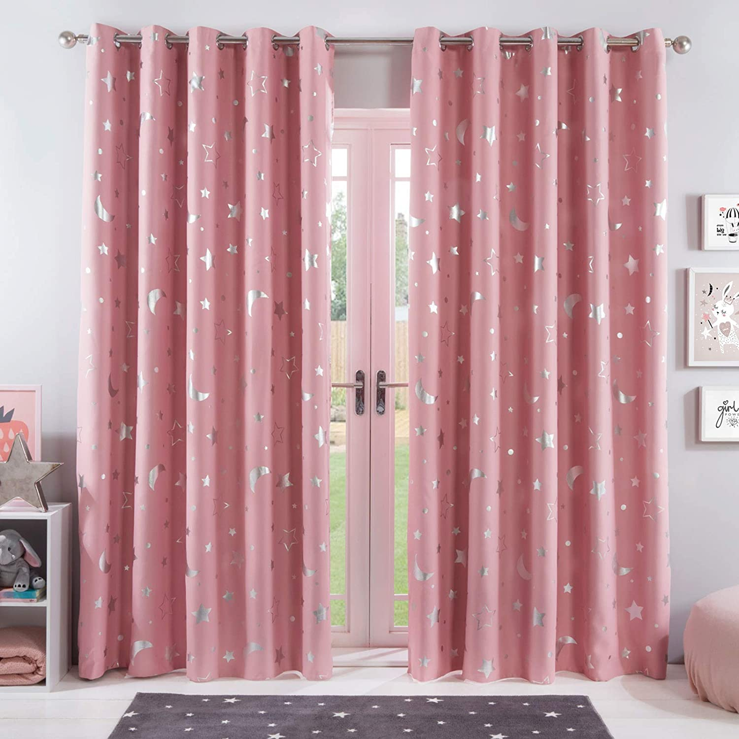 Dreamscene Galaxy Thermal Blackout Curtains Pair Of Eyelet Ring Top Panels Kids Metallic 100 Microfibre Pink Blush Moon Stars 46 Wide X 54 Drop Amazon Co Uk Kitchen Home