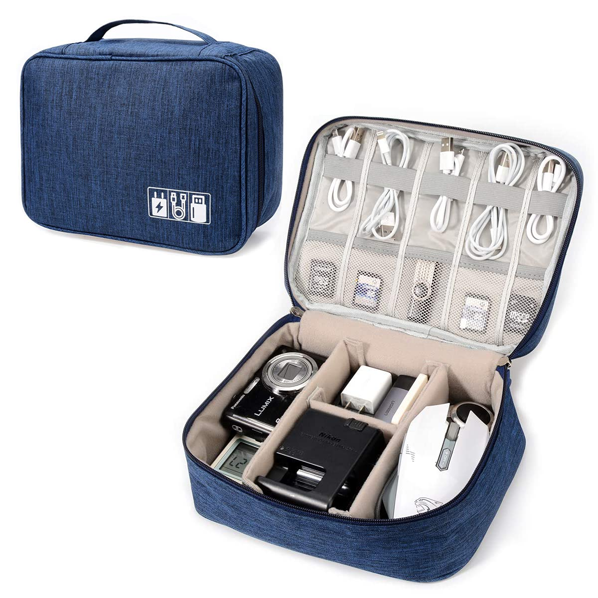 Electronic Organizer Travel Universal Cable Organizer Electronics Accessories Storage Bag Gadget Gear Cases for iPad Mini, Kindle, Smartphone, Cable, Charger, Power Bank, USB, SD Card (Blue)
