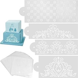 Pochoirs de décoration de gâteau, 40pcs pochoir côté gâteau fondant outil de décoration fondant tapis d'impression 3D effe...