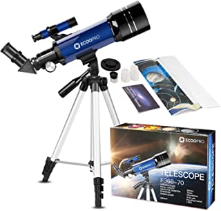 Telescope for Kids Beginners Adults, 70mm Astronomy Refractor Telescope with Adjustable Tripod - Perfect Telescope Gift fo...