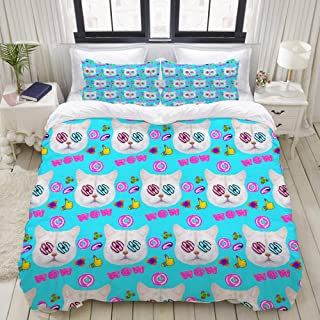"""Mokale Bedding Duvet Cover 3 Piece Set - Fashion Face The cat Donut Lover - Decorative Hotel Dorm Comforter Cover with 2 Pollow Shams - Twin 68""""x86"""""""