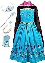 Monissy Prinzessin Kostüm Mädchen Eiskönigin ELSA Kostüm Anna Kleid mit Umhang Märchen Cosplay Kostüm Kinder Eisprinzessin...