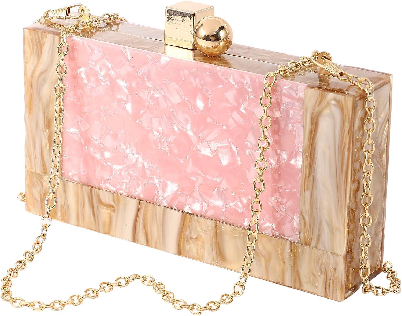 Runtodo Marbling Acrylic Purse Box Clutch Luxury Handbags Women Bgas Designer Messenger Beach Travel Bag,Gold