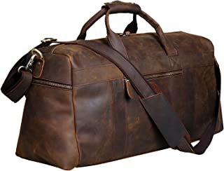 Vintage Crazy Horse Leather Men's Travel Duffle luggage Bag