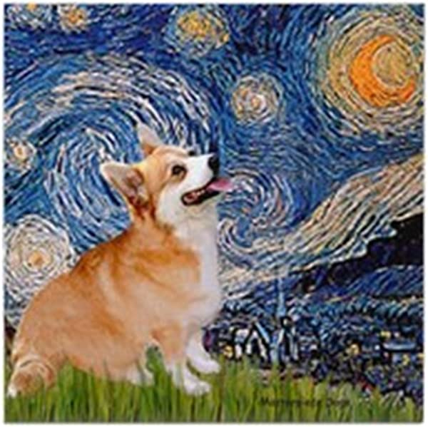 CafePress Starry Night Corgi 瓷砖杯垫饮料杯垫小 Trivet