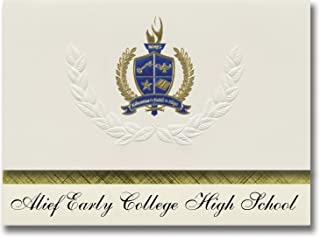 Signature Announcements Alief Early College High School (Houston, TX) Graduation Announcements, Presidential style, Elite package of 25 with Gold & Blue Metallic Foil seal