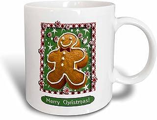 """3dRose mug_37084_1 """"Gingerbread Boy, Merry Christmas"""" Ceramic Mug, 11 oz, Multicolor"""