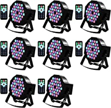 DJ Lights Missyee 36 X 1W RGB LEDs DJ LED Uplighting Package Sound Activated Stage Par Lights with Remote Control Compatible with DMX, 9 Modes LED Up Lights for Wedding Event Party Festival (8 Pack)