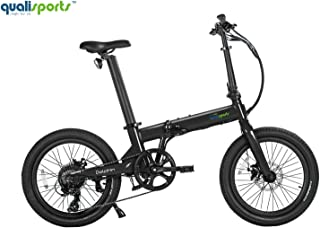 """Qualisports Dolphin Folding Electric Bicycle 20"""" Wide Tire E-Bike with Strong 350W Hub Motor, 36V/14Ah Battery, Range 50+Miles, 20MPH Max Speed Hybrid Foldable Ebike for Adults from USA Warehouse"""