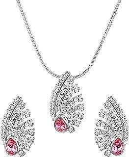 Mahi with Swarovski Zirconia Pink Shell Rhodium Plated Pendant Set for Women NL1104132R