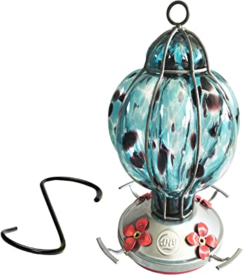 Best Home Products Hummingbird Feeder with Perch - Hand-Blown Glass Feeders | Treat ((Blue Black)