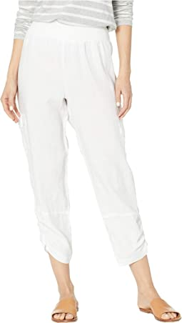 Stone Wash Linen Pull-On Crop Cargo Pants