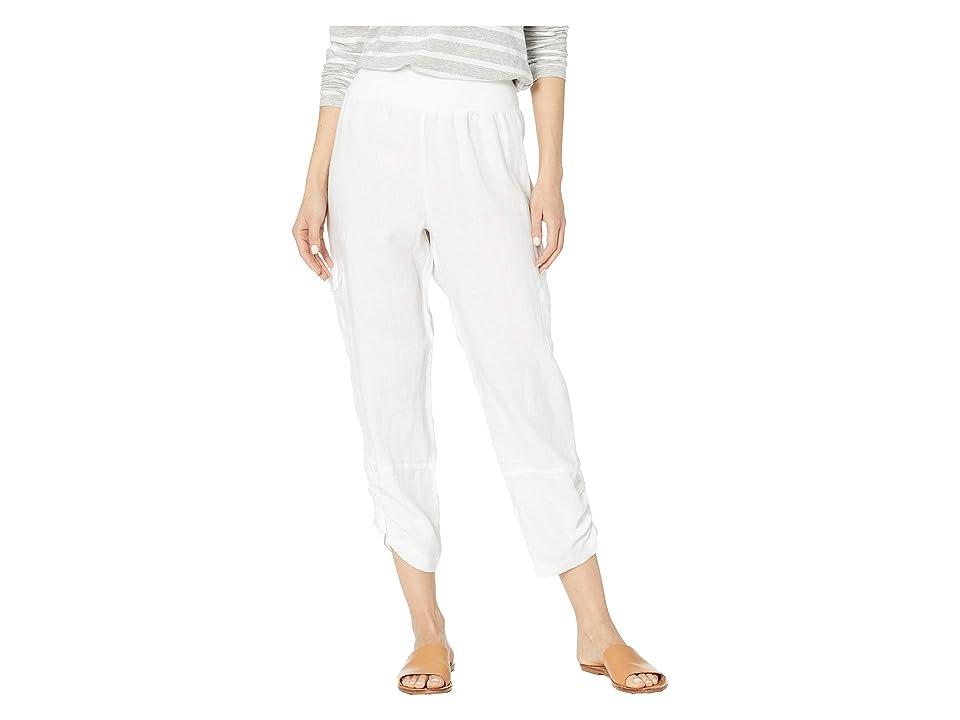 Elliott Lauren Stone Wash Linen Pull-On Crop Cargo Pants (White) Women
