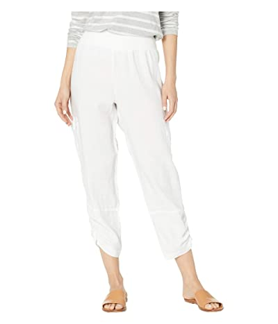 Elliott Lauren Stone Wash Linen Pull-On Crop Cargo Pants (White) Women