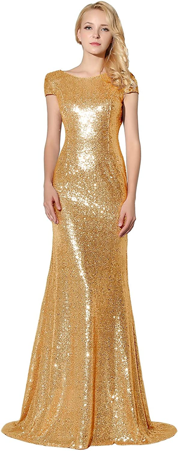 Sarahbridal Women's Formal Prom Dreeses Sequin Bridesmaid Dress Ball Gowns