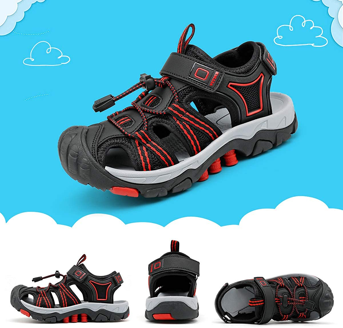 VITUOFLY Kids Sandals Boys Outdoor Hiking Sports Sandal Girls Pool Beach Shoes Summer Water Shoe Sneakers