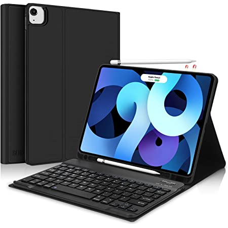 Keyboard Case for iPad Air 4 2020-Touchpad Detachable Keyboard with Pencil Holder Slim Leather Folio Smart Cover for iPad Air 4 10.9 inch iPad Air 4 10.9 inch, Sky Blue